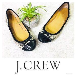 J. Crew Snakeskin Classic Cap Toe Ballet Flats 8.5